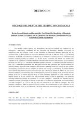 OECD Guidelines for the Testing of Chemicals, Section 4: Health Effects Test No. 437: Bovine Corneal Opacity and Permeability Test Method for Identifying Ocular Corrosives and Severe Irritants