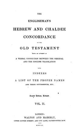 The    Englishman s Hebrew and Chaldee Concordance of the Old Testament PDF