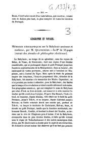 Géographie et voyages. Mémoires géographiques sur la Babylonie ancienne et moderne