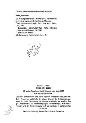 Die Wirkung des Dichters PDF