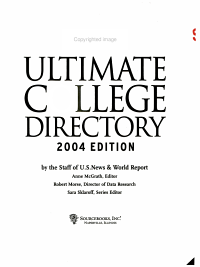 U S  News Ultimate College Directory 2004 PDF