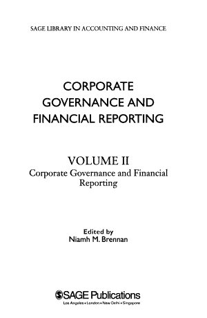 Corporate Governance and Financial Reporting: Corporate governance and financial reporting