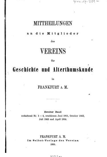 Mittheilungen des Vereins f  r Geschichte und Alterthumskunde in Frankfurt am Main PDF