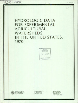 Hydrologic Data for Experimental Agricultural Watersheds in the United States  1970 PDF