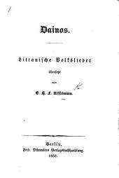 Dainos. Littauische Volkslieder übersetzt von G. H. F. Nesselmann
