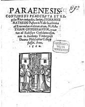Paraenesis: continens praecepta et regulas vitae coniugalis : scripta ad Math. Gunderamum