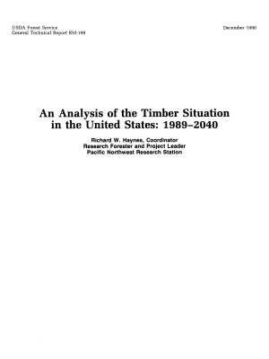 An Analysis of the Timber Situation in the United States  1989 2040