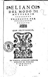 Del modo di mettere in ordinanza tradotto per Francesco FerrosiEliano