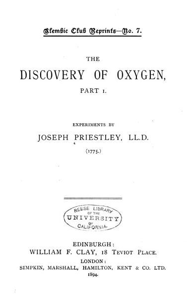 Download The Discovery of Oxygen  Part 1 Book