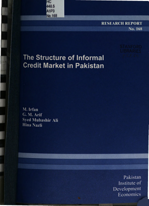 The Structure of Informal Credit Market in Pakistan PDF