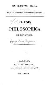 Thesis philosophica de definitione