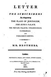 A letter to the subscribers for engraving the plans of Jerusalem [&c.].