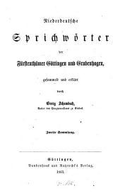 Niederdeutsche Sprichwörter der Fürstenthümer Göttingen und Grubenhagen: Band 2