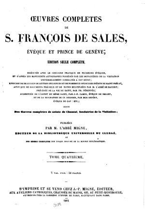 Oeuvres compl  tes de S  Fran  ois De Sales PDF