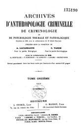 Archives d'anthropologie criminelle, de médecine légale et de psychologie normale et pathologique