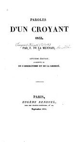 Paroles d'un croyant, 1833