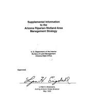 Supplemental information to the Arizona riparian-wetland area management strategy