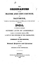 ORDINANCES AND RESOLUTINS OF THE MAYOR AND CITY COUNCIL OF BALTIMORE