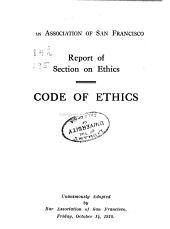 Report of Section on Ethics: Code of Ethics