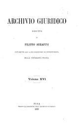 Archivio giuridico: Volume 16