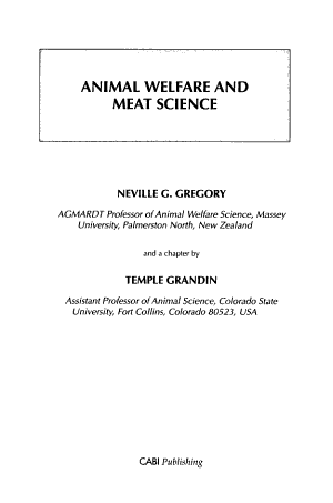 Animal Welfare and Meat Science PDF