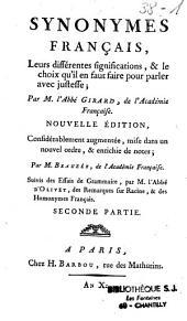 Synonymes françois...: (suivis des) essais de grammaire, des remarques sur Racine et des homonymes français