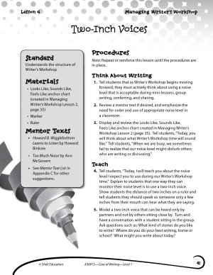 Writing Lesson Level 1  Two Inch Voices PDF
