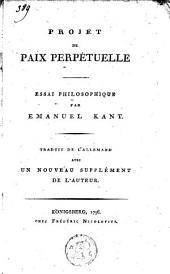 Projet de paix perpétuelle: essai philosophique
