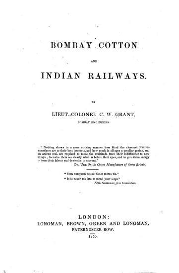 Bombay Cotton and Indian Railways PDF