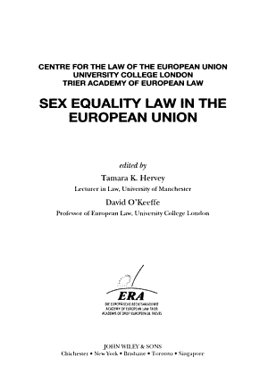 Sex Equality Law in the European Union PDF