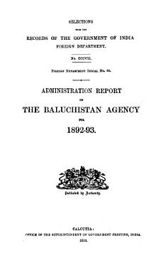 Administration Report of the Baluchistan Agency for PDF
