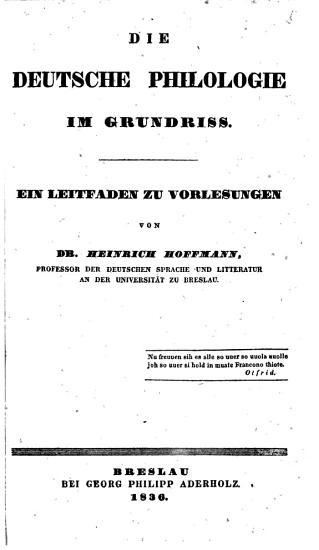 Die deutsche Philologie im Grundriss PDF