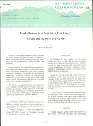 Slash Cleanup In A Ponderosa Pine Forest Affects Use By Deer And Cattle Book PDF