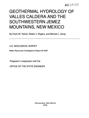 Geothermal Hydrology of Valles Caldera and the Southwestern Jemez Mountains  New Mexico