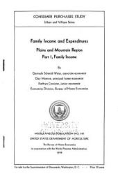 Family Income and Expenditures: Plains and Mountain Region : Part I, Family Income