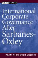 International Corporate Governance After Sarbanes Oxley PDF