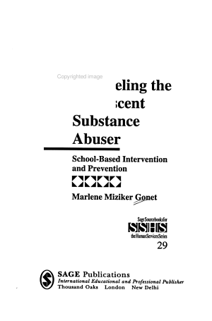 Counseling the Adolescent Substance Abuser PDF