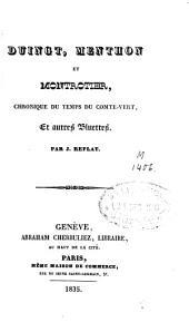 Duingt, Menthon et Montrotier: chronique du temps du Comte Vert et autres bluettes