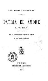 Patria ed amore canti lirici editi e postumi Laura Beatrice Mancini-Oliva