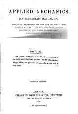 Applied Mechanics  an Elementary Manual On  Specially Arranged     PDF