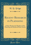 Recent Research In Plainsong Book PDF