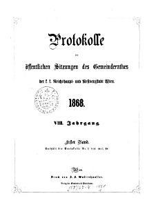 Protokolle der   ffentlichen Sitzungen des Gemeinderathes der k k  Reichshaupt  und Residenzstadt Wien PDF