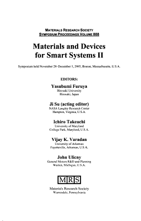 Materials and Devices for Smart Systems PDF