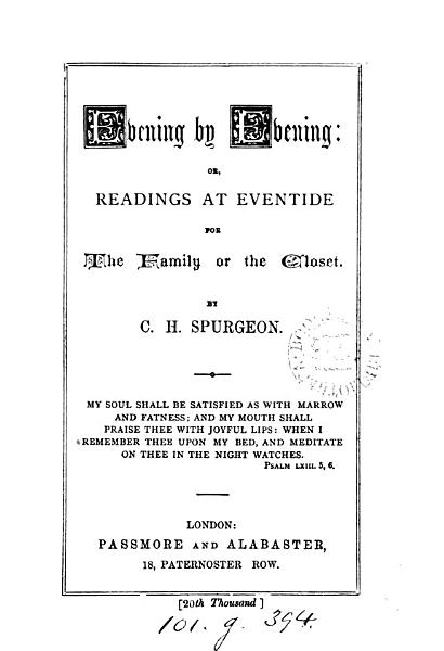 Download Evening by Evening  Or  Readings at Eventide Book