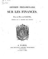 Opinion Préliminaire Sur Les Finances