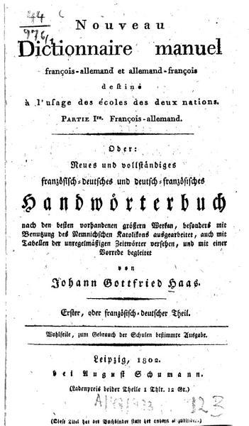 Nouveau Dictionnaire Manuel Francois Allemand Et Allemand Francois