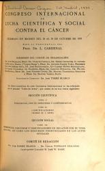 Congreso internacional de lucha cientifica y social contra el c  ncer celebrado en Madrid del 25 al 30 de octubre de 1933     PDF
