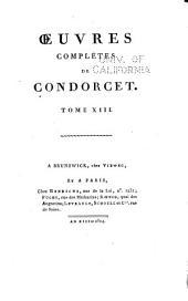 Oeuvres complètes de Condorcet: Volume13