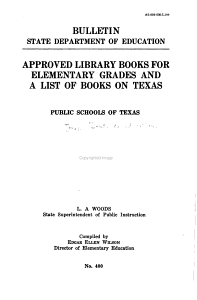 Approved Library Books for Elementary Grades and a List of Books of Texas PDF