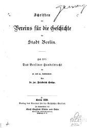 Das Berliner Handelsrecht im 13. und 14. Jahrhundert